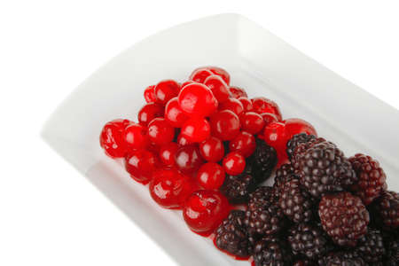sweet clear cherry and wild berry on plate photo