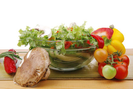 vegetables salad on wooden table Stock Photo - 7725196