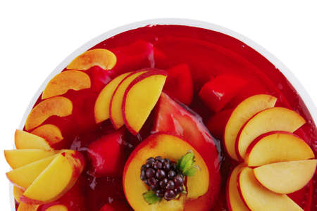 image of cold red jelly pie with nectarine and peach photo