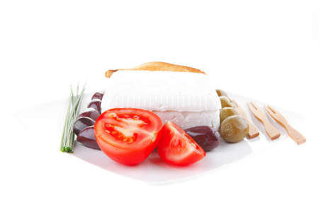 image of soft cheese and tomatoes with olives Stock Photo - 7813544