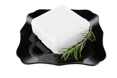 image of soft cheese on black dish Stock Photo - 7862336