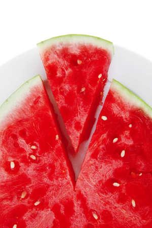 fresh raw red watermelon slice on plate photo