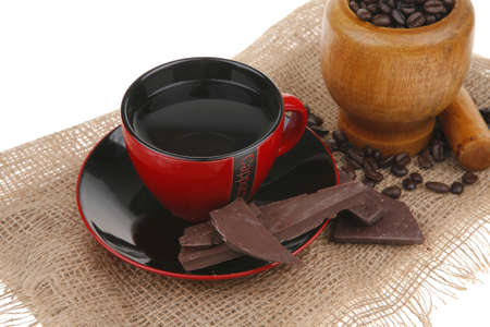 black coffe with dark chocolate and beans photo