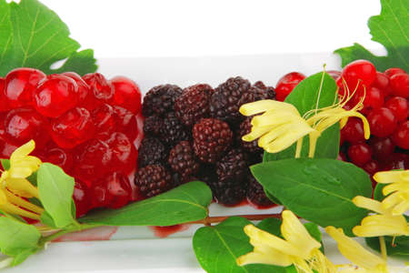 wild berry's and cherry on white plate Stock Photo - 7896373