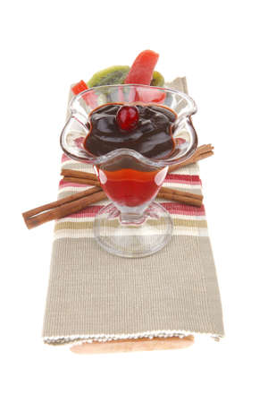 served ice cream with fruits over white photo