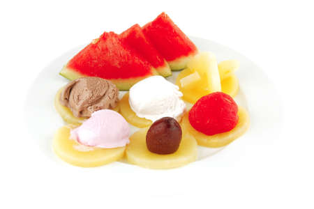 big plate with mix fruits and ice cream Stock Photo - 8051731