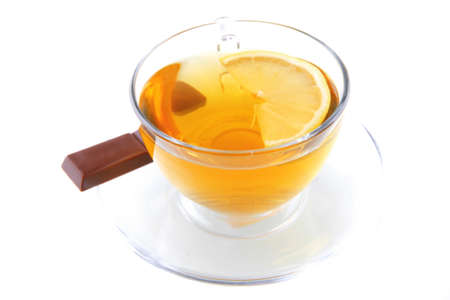 dark chocolate strip and gold english tea photo