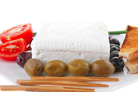image of soft feta and vegetables on white Stock Photo - 8074936