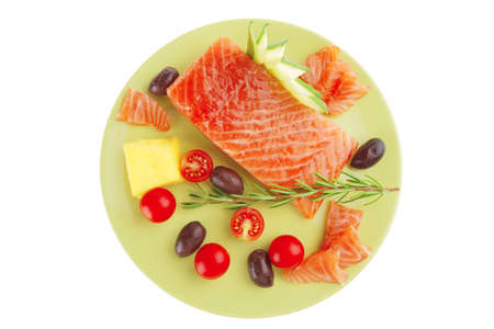 smoked salmon bar on plate with vegetables Stock Photo - 8126308