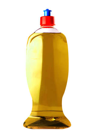 color soap bottle isolated over white background photo
