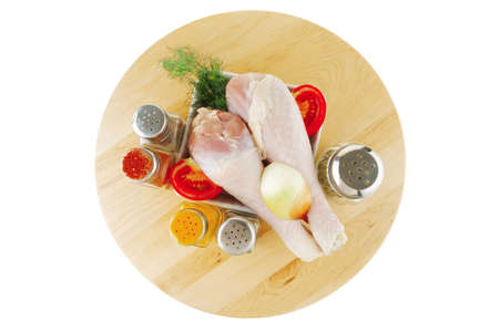 pepper castor: image of fresh raw chiken legs and spices Stock Photo