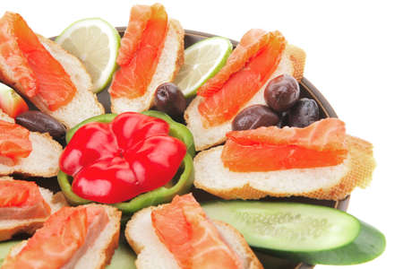 smoked salmon on baguette with olives and pepper Stock Photo - 8224626