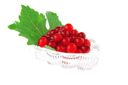 portion of wild berry on green lead over white Stock Photo - 8244400