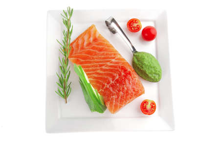 smoked salmon fillet isolated on plate with sauce Stock Photo - 8279286