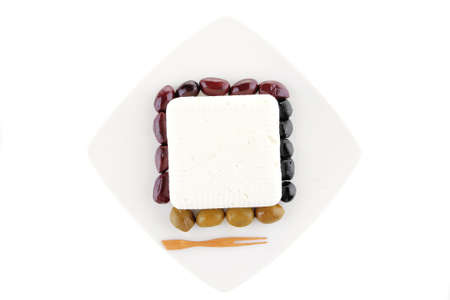 image of feta cube on plate with rare olives Stock Photo - 8311891