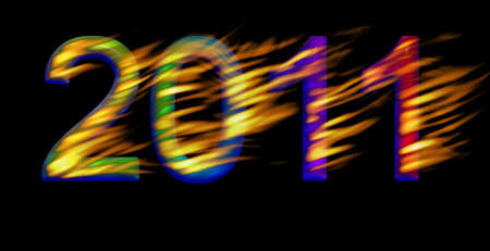 New Years card with 2011 text isolated on black Stock Photo - 8358021