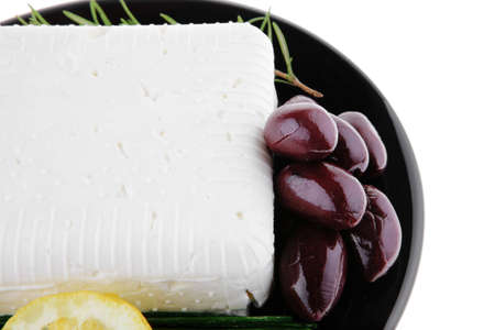 image of soft feta cheese on black Stock Photo - 8358060