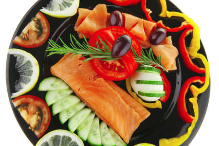 image of smoked salmon and vegetables on plate photo