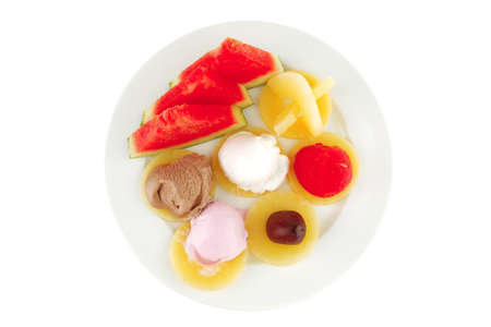 big plate with mix fruits and ice cream Stock Photo - 8461894