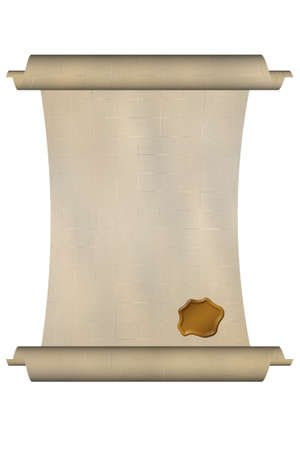 credence: image of paper scroll over white background
