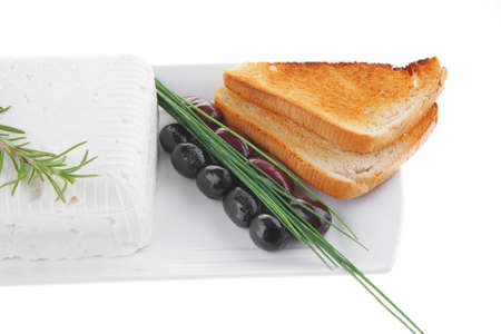 image of toast and vegetables with soft feta cheese Stock Photo - 8466761
