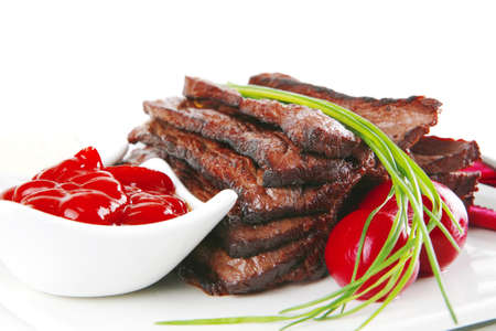 beef meat served with spices and seasoning photo
