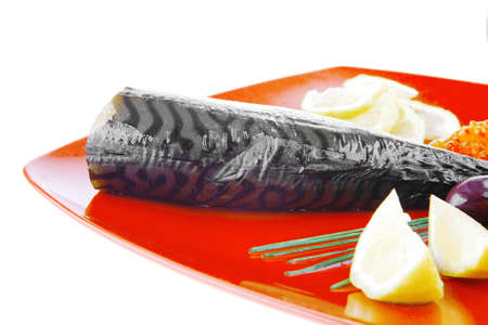 caviar and smoked fish with lemon on red plate Stock Photo - 8574977