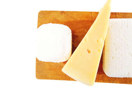 delicacy: soft delicacy cheeses on small wood board Stock Photo