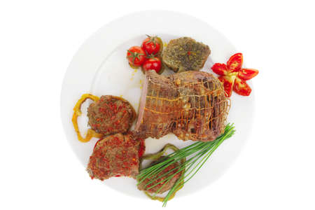roast meat in grid with chives on plate Stock Photo - 8754024