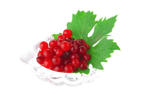 wild berry in small transparent bowl over white photo