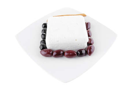 image of feta cube on plate with rare olives Stock Photo - 9173185