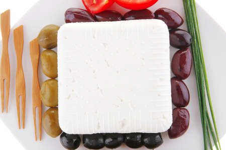 image of soft feta and vegetables on white photo