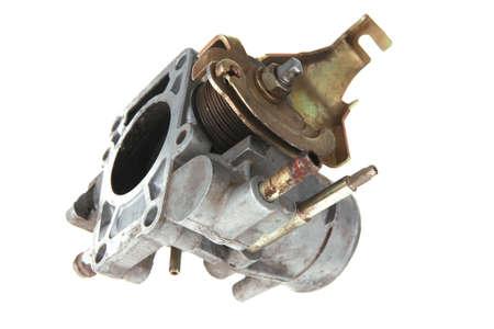 used part of motor isolated over white background photo