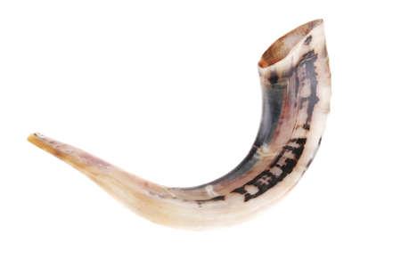 ram horn ( shofar ) isolated over white background photo