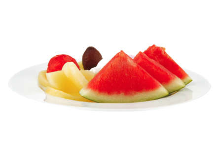 big plate with mix fruits and ice cream Stock Photo - 9498952