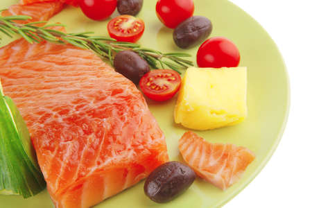 fresh smoked red fish fillet on plate and rosemary Stock Photo - 9500553
