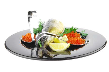 golden smoked herring and fresh red caviar photo