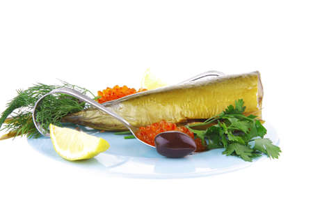 image of red caviar and smoked fish photo
