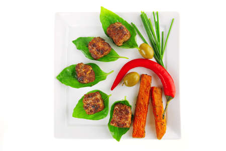 grilled french cutlets and sweet baked potatoes photo
