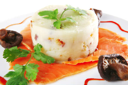 pink smoked salmon with mashed potatoes served on white Stock Photo - 9670979