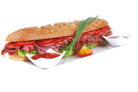 sandwich : french baguette with smoked sausage on white plate isolated over white background photo