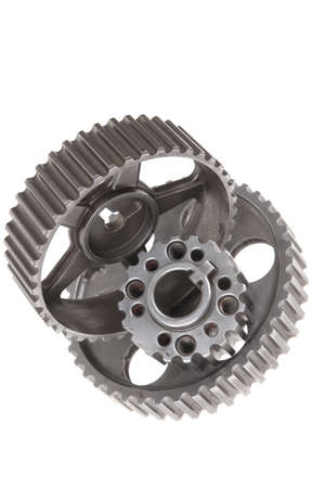 real used stainless steel car gears isolated over white background photo