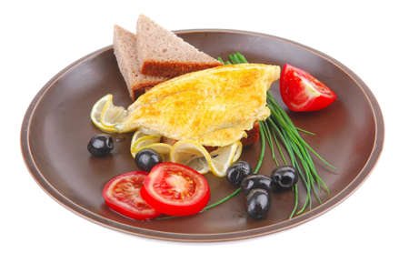grilled fish fillet served with tomatoes,olives and bread Stock Photo - 9813983