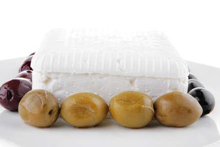 image of soft feta cube with rare olives Stock Photo - 9928445