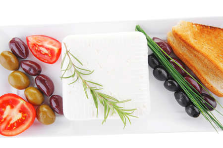 soft white cheese with bright toast and olives Stock Photo - 9958824