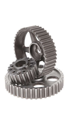 alternator: real stainless steel gears isolated over white background