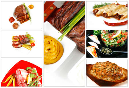 meat sorts on white with raw vegetables photo