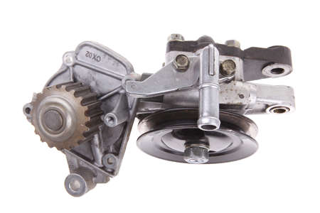 real used car water pump isolated over white background photo