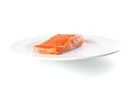 smoked salmon chunk on a big white plate Stock Photo - 10108464