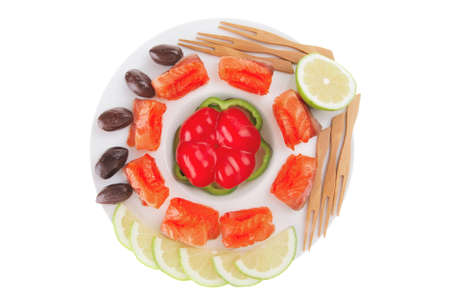 salmon with olives on white round plate Stock Photo - 10108746